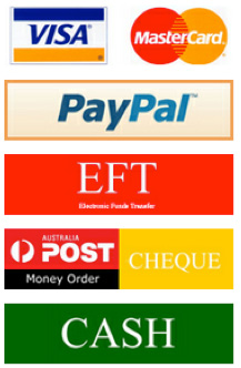 Visa, Mastercard, Direct Deposit, Paypal, Cash, Cheque or Money Order